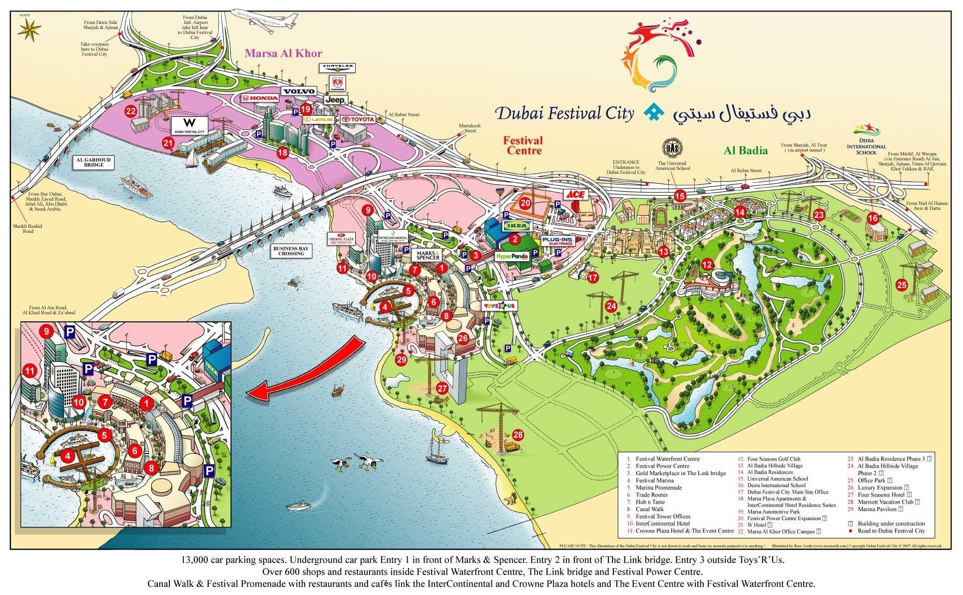 dubai térkép Dubai festival city mall térkép   Dubai festival city térkép  dubai térkép